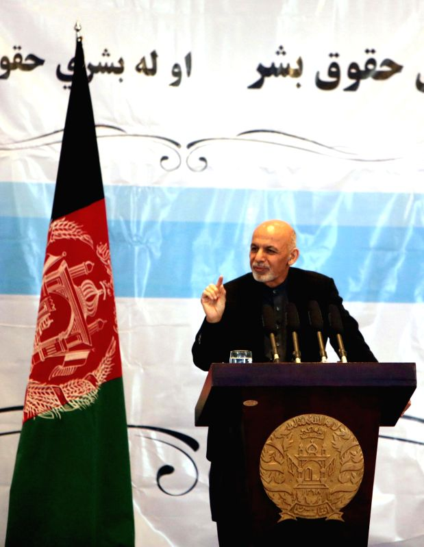 Afghan President Ashraf Ghani speaks during a ceremony marking the International Human Rights Day in Kabul, Afghanistan, Dec. 14, 2014. The International Human Rights Day is observed on Dec. ..