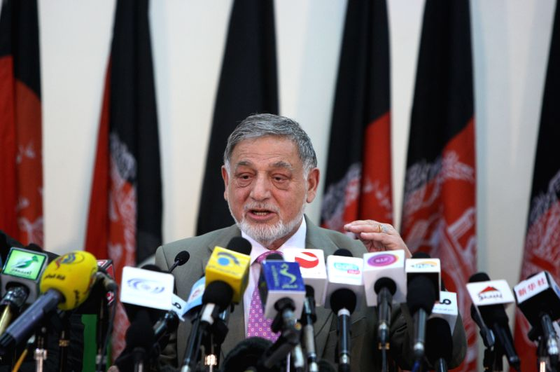 Chairman of Afghanistan's Independent Election Commission (IEC) Ahmad Yousuf Nouristani speaks during a press conference in Kabul, Afghanistan on April 13, 2014. ...