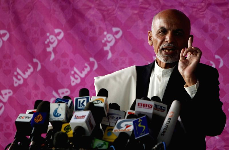 Presidential candidate Ashraf Ghani Ahmadzai speaks during a press conference in Kabul, Afghanistan, April 21, 2014. The results of nearly 50 percent of the votes ...