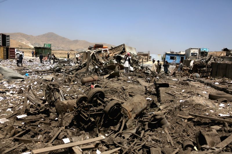 KABUL, Aug. 1, 2016 - Photo taken on Aug. 1, 2016 shows the site of a truck bombing attack in Kabul, capital of Afghanistan. One police and three militants were killed and three police wounded in a ...