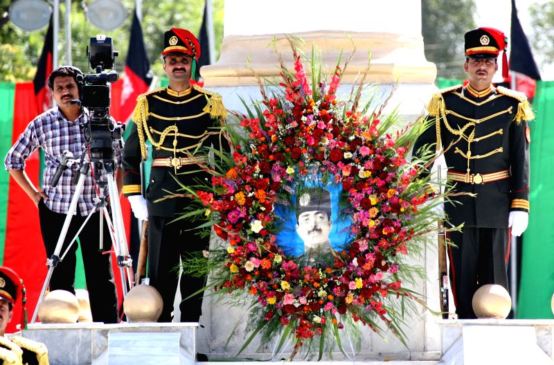 Afghan honor guards stand guard during the celebration of Afghan Independence Day in Kabul, Afghanistan, Aug. 19, 2014. Afghanistan marked the 95th anniversary of its