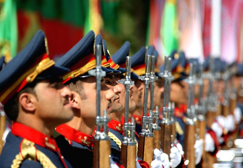 Afghan honor guards stand during the celebration of Afghan Independence Day in Kabul, Afghanistan, Aug. 19, 2014. Afghanistan marked the 95th anniversary of its ...