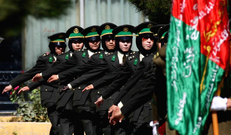 Newly-graduated female Afghan National Army (ANA) officers march during the graduation ceremony in Kabul, Afghanistan on Aug. 24, 2014. A total of 30 female army ...