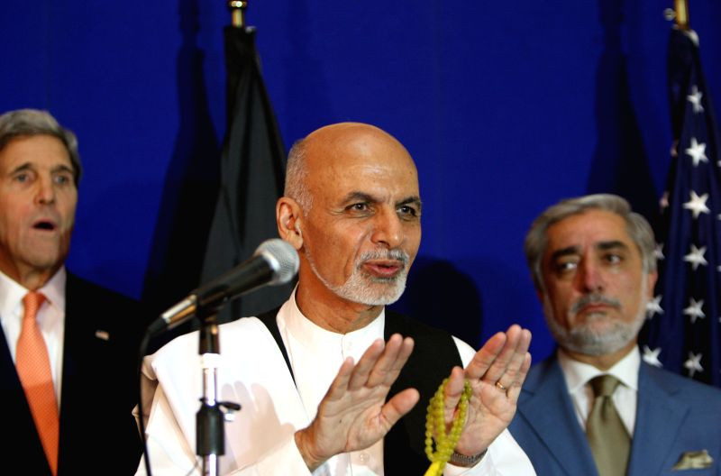 Afghan presidential candidate Ashraf Ghani Ahmadzai speaks during a joint press conference in Kabul, Afghanistan on Aug. 8, 2014. Both Afghan presidential candidates ..