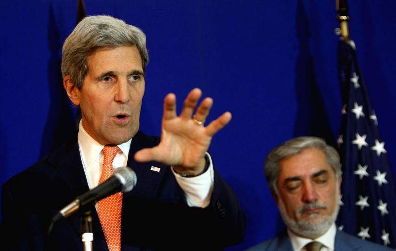 U.S. Secretary of State John Kerry speaks during a joint press conference in Kabul, Afghanistan on Aug. 8, 2014. Both Afghan presidential candidates Abdullah Abdullah .