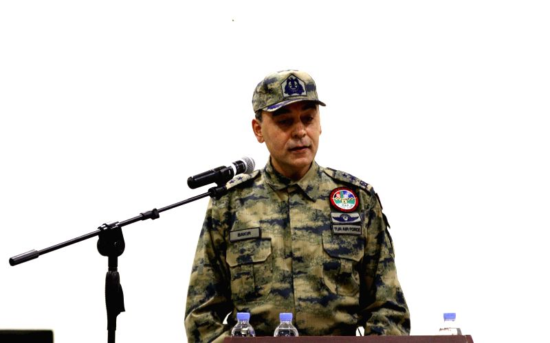 Incoming commander Major General Mehmet Cahit Bakir speaks during the change of command ceremony of Hamid Karzai International Airport from France to Turkey in Kabul,