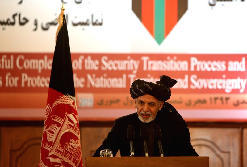 Afghan President Mohammad Ashraf Ghani speaks during a ceremony marking the completion of security transition from NATO-led troops to Afghan security forces in Kabul, .