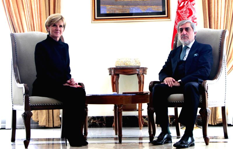 Abdullah Abdullah (R), chief executive of the Afghan government, sits with Australian Foreign Minister Julie Bishop during their meeting in Kabul, Afghanistan on Jan. - Julie Bishop