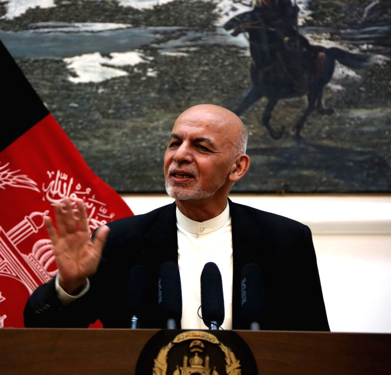 KABUL, July 15, 2018 - Afghan President Ashraf Ghani speaks during a press conference in Kabul, capital of Afghanistan, July 15, 2018.