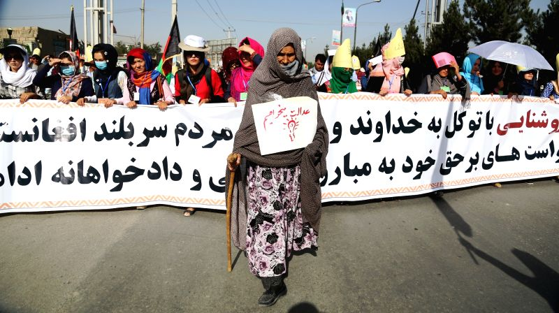 KABUL, July 23, 2016 - Afghan people attend a protest in Kabul, capital of Afghanistan, July 23, 2016. Thousands of Afghans staged a protest Saturday in Afghan capital of Kabul to register their ...