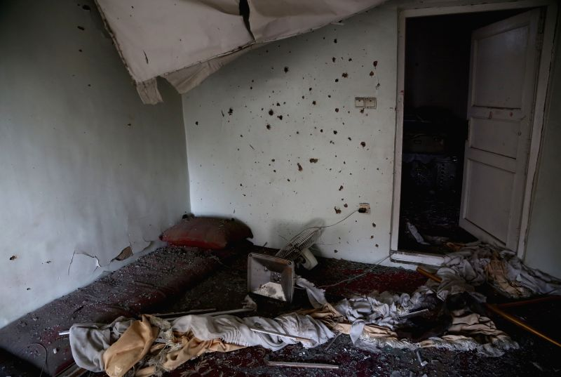KABUL, July 24, 2018 - Photo taken on July 24, 2018 shows a damaged room after a rocket attack in Kabul, capital of Afghanistan. At least three Afghan civilians were injured after five rockets struck ...