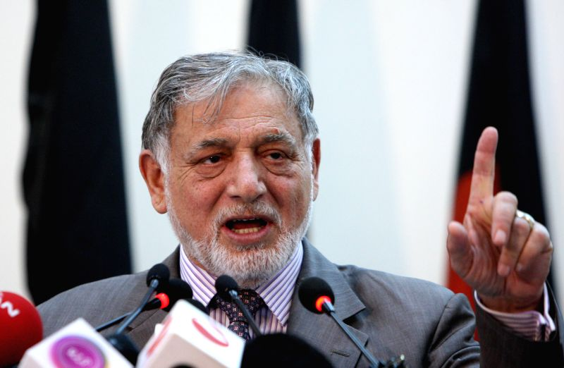 Chairman of the Afghan Election Commission Ahmad Yusuf Nuristani speaks during a press conference in Kabul July 7, 2014. Presidential candidate Ashraf Ghani Ahmadzai ..