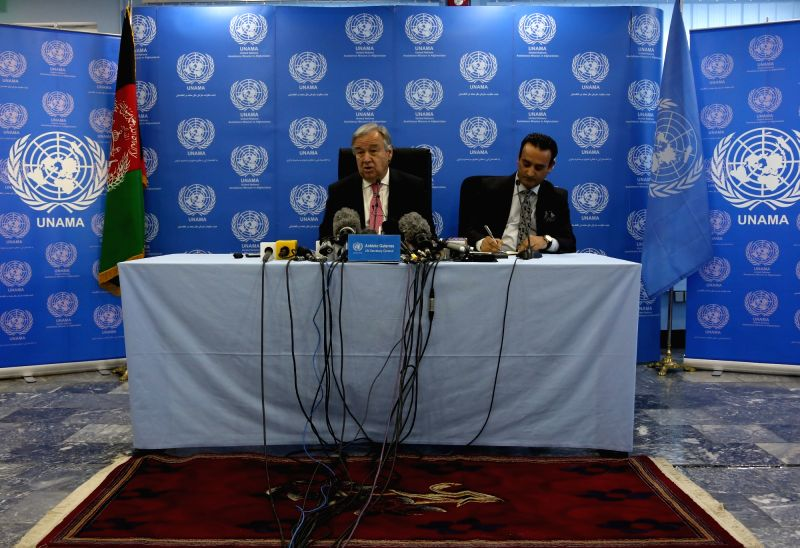 KABUL, June 14, 2017 - UN Secretary-General Antonio Guterres (L) speaks during a press conference in Kabul, capital of Afghanistan, June 14, 2017. UN Secretary-General Antonio Guterres arrived in ...