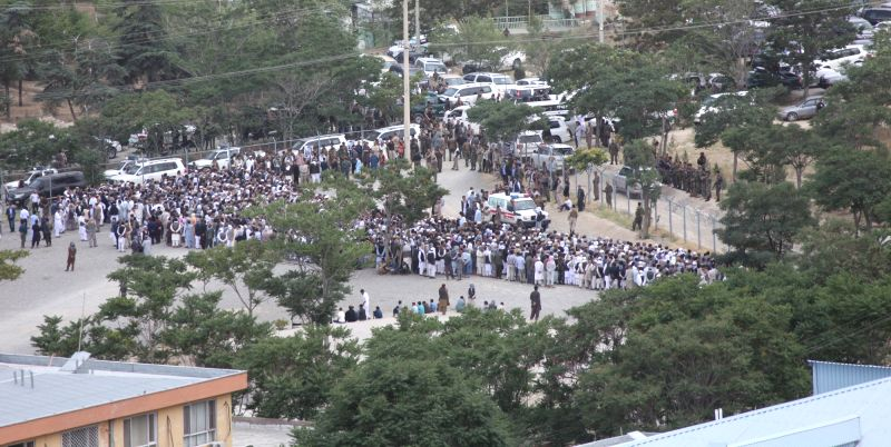 KABUL, June 3 Photo taken on June 3, 2017 shows people gathering at a funeral ceremony in Kabul, the capital of Afghanistan. At least 18 people have been confirmed dead and 12 others ...
