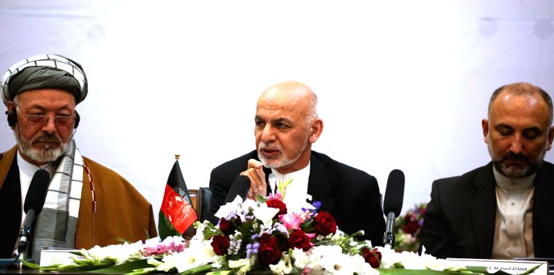 "KABUL, June 6, 2017 - Afghan President Mohammad Ashraf Ghani (C) speaks during the ""Kabul Process"" conference in Kabul, capital of Afghanistan, June 6, 2017. An international conference ..."