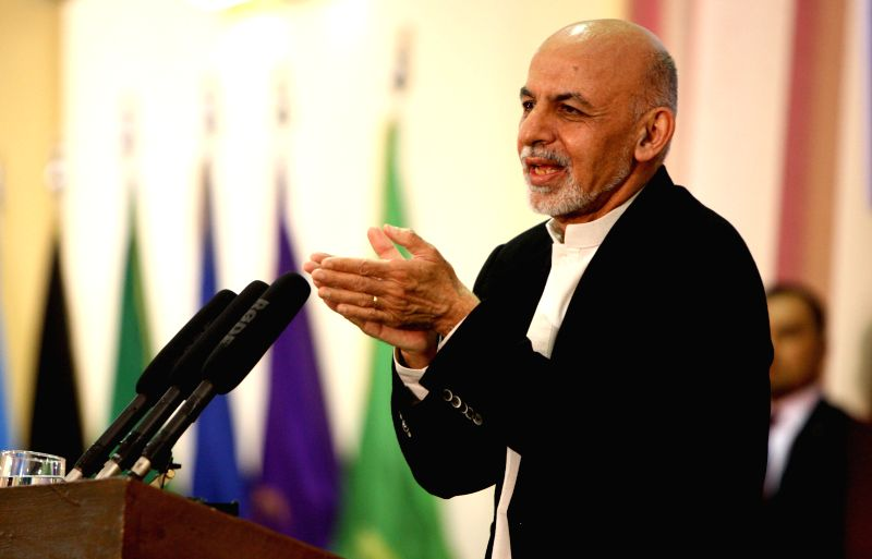 Afghan President Mohammad Ashraf Ghani speaks during a graduation ceremony of national army officers in Kabul, Afghanistan, March 18, 2015. A total of 549 national ...