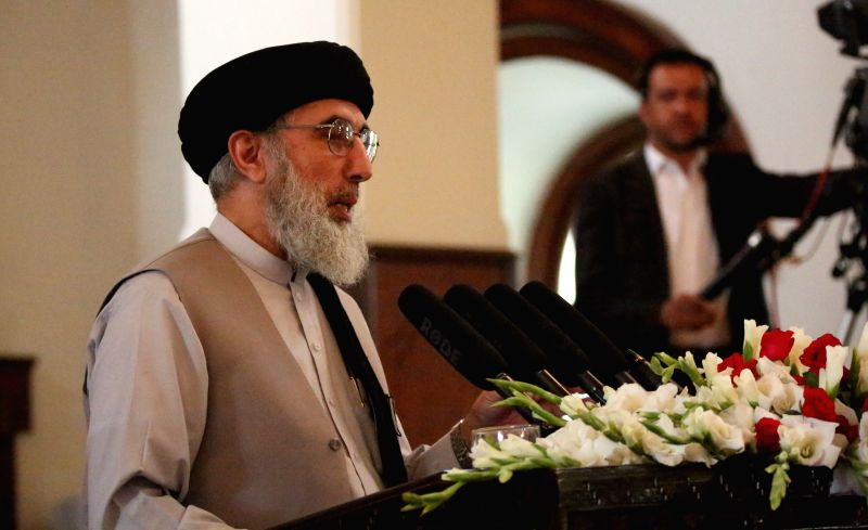 KABUL, May 4 Gulbuddin Hekmatyar, leader of Afghanistan's Hizb-e-Islami, or Islamic Party, who ended decades of exile and fighting against the government, speaks during an event after he ...