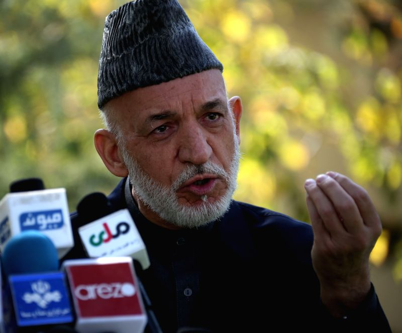 KABUL, Oct. 12 Former Afghan president Hamid Karzai speaks during a press conference in Kabul, capital of Afghanistan, Oct. 12, 2017. Former Afghan President Hamid Karzai on Thursday ...
