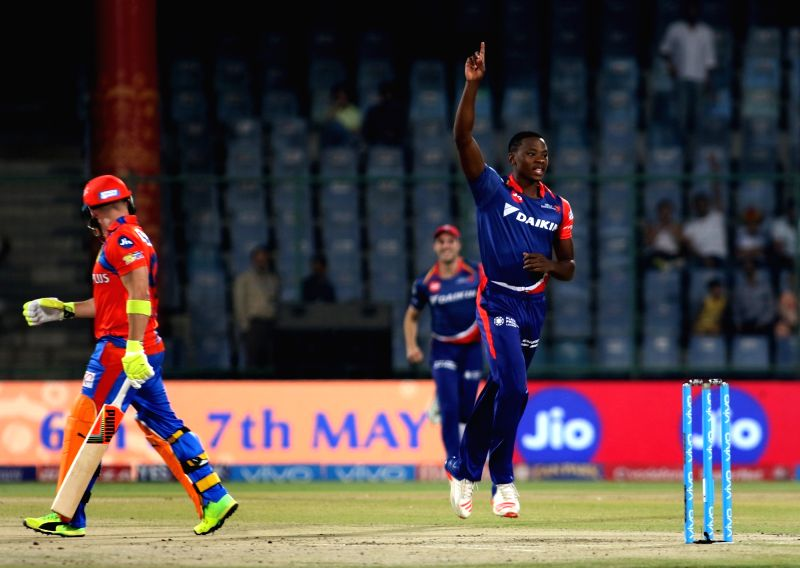 Kagiso Rabada of Delhi Daredevils celebrates fall of Brendon McCullum's wicket during an IPL 2017 match between Delhi Daredevils and Gujarat Lions at Feroz Shah Kotla in New Delhi, on May ... - Feroz Shah Kotla