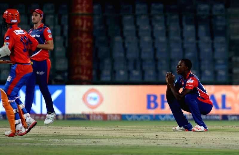 Kagiso Rabada of Delhi Daredevils during an IPL 2017 match between Delhi Daredevils and Gujarat Lions at Feroz Shah Kotla in New Delhi, on May 4, 2017. - Feroz Shah Kotla