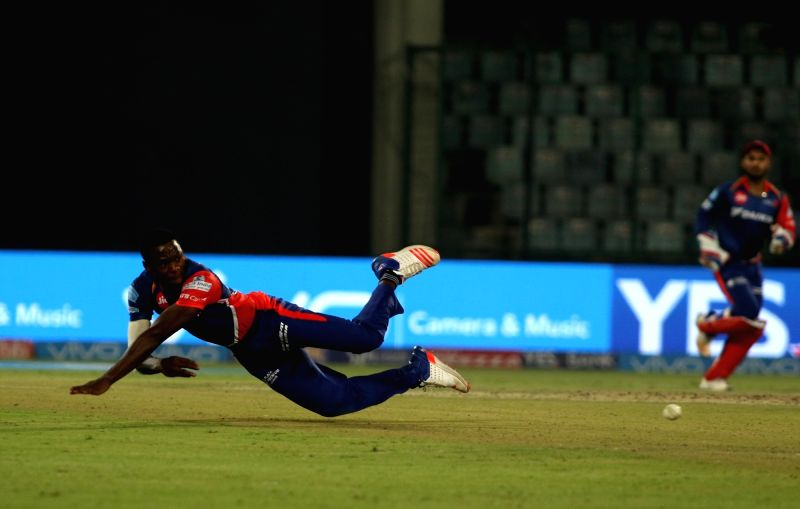 Kagiso Rabada of Delhi Daredevils in action during an IPL 2017 match between Delhi Daredevils and Gujarat Lions at Feroz Shah Kotla in New Delhi, on May 4, 2017. - Feroz Shah Kotla
