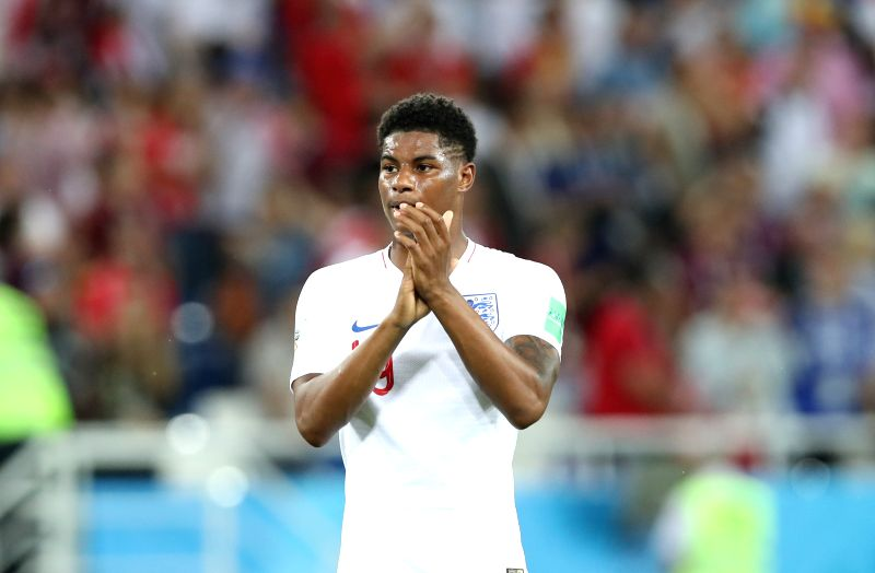 KALININGRAD, June 28, 2018 (Xinhua) -- Marcus Rashford of England greets the audience after the 2018 FIFA World Cup Group G match between England and Belgium in Kaliningrad, Russia, June 28, 2018. Belgium won 1-0. England and Belgium advanced to the