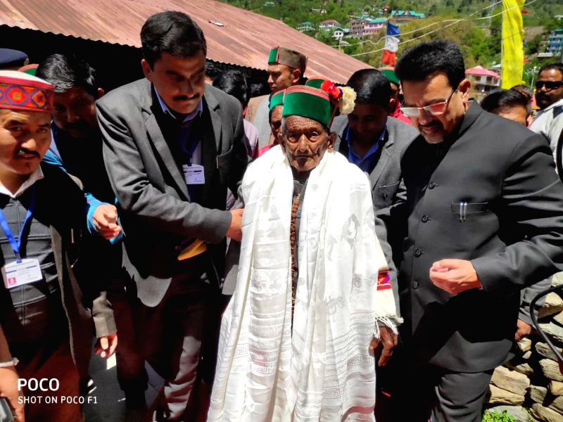 Kalpa: 1st voter of independent India, Shyam Saran Negi at a polling booth during the seventh and the last phase of 2019 Lok Sabha Elections in Kalpa, Kinnnaur, Himachal Pradesh on May 19, 2019.  103yr old Negi has been voting since 1st General Elect