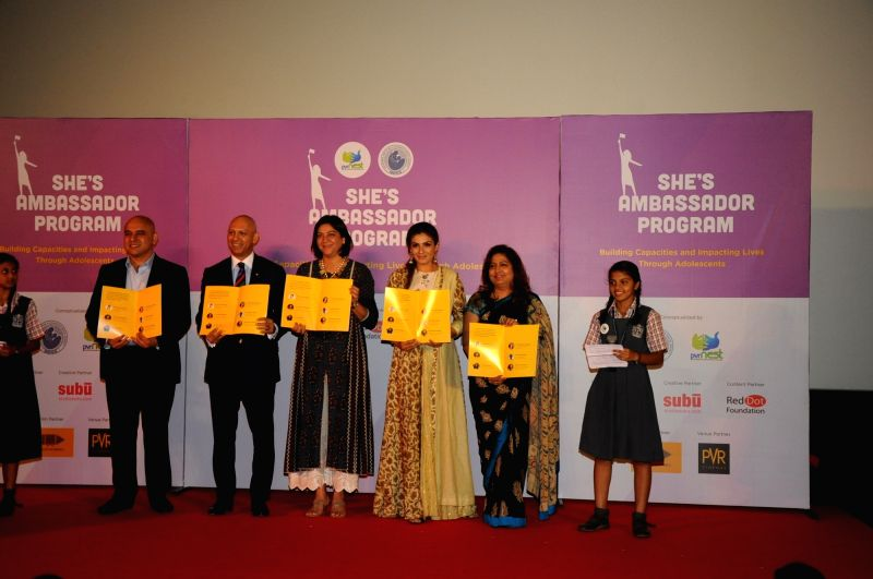 Kamal Gianchandani, CEO, PVR Pictures Ltd, Nadir Patel, High Commissioner for Canada to India, Congress leader Priya Dutt, actress Raveena Tandon and Dr Nandita Palshetkar during the launch ... - Raveena Tandon, Patel and Priya Dutt