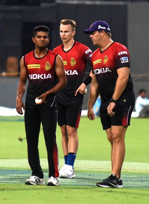 Kamlesh Nagarkoti, Tom Curran and Heath Streak of Kolkata Knight Riders during a practice session, in Kolkata on April 12, 2018.