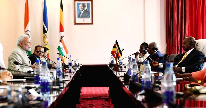 :Kampala: Prime Minister Narendra Modi and Uganda President Yoweri Museveni co-chair the delegation level talks in Uganda's Kampala on July 24, 2018. (Photo: IANS/MEA).