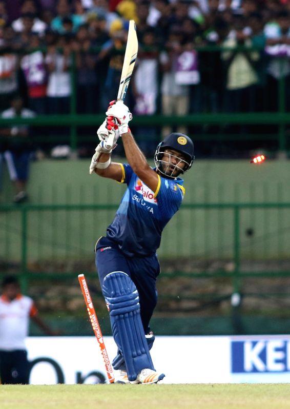 Kandy: Sri Lanka's Milinda Siriwardana is bowled out by India's Jasprit Bumrah during the 3rd ODI match between India and Sri Lanka in Kandy, Sri Lanka on Aug 27, 2017. (Photo: Surjeet Yadav/IANS)