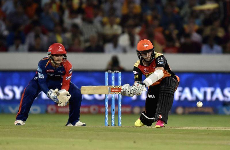 Kane Williamson  of Sunrisers Hyderabad in action during an IPL match between Sunrisers Hyderabad and Delhi Daredevils at Rajiv Gandhi International Stadium in Hyderabad on May 12, 2016.