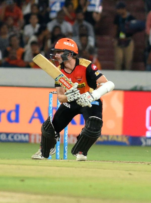 Kane Williamson of Sunrisers Hyderabad in action during an IPL 2017 match between Sunrisers Hyderabad and Delhi Daredevils at Rajiv Gandhi International Stadium in Hyderabad on April 19, ...