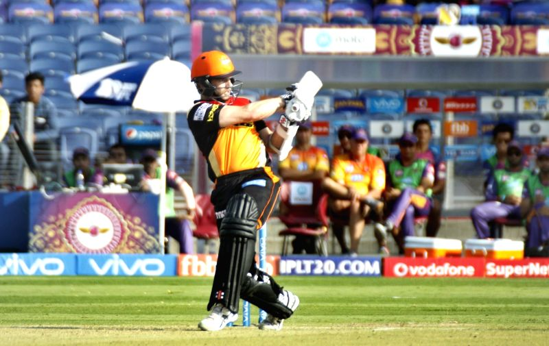 Kane Williamson of Sunrisers Hyderabad in action during an IPL 2017 match between Rising Pune Supergiant and Sunrisers Hyderabad at Maharashtra Cricket Association Stadium in Pune on April 22, ...
