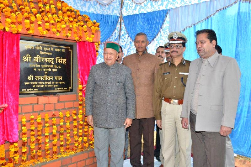 Himachal Pradesh Chief Minister Virbharda Singh lays foundation stone of a Police Post in Kangra district of Himachal Pradesh on Jan 12, 2015.