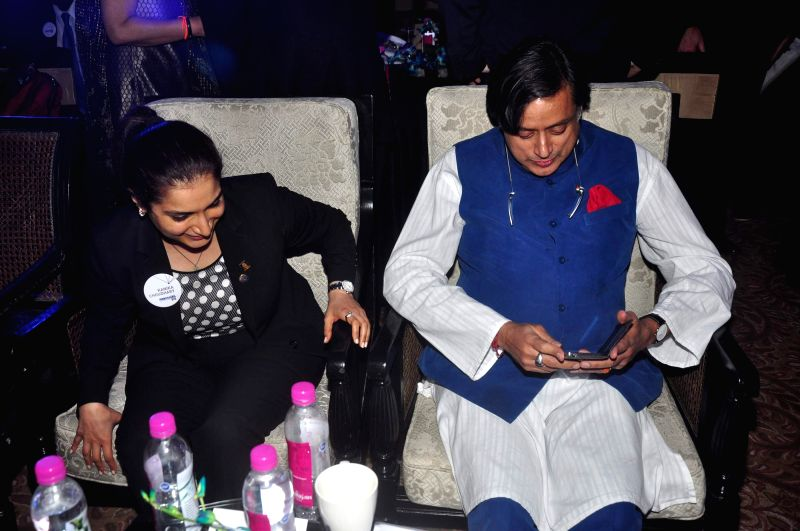 Kanika Choudhary, Honorary Ambassador of Philadelphia to India and Congress leader Shashi Tharoor during launch of Penn Hub - India, the first global education initiative partnership with Symbiosis .. - Shashi Tharoor and Kanika Choudhary