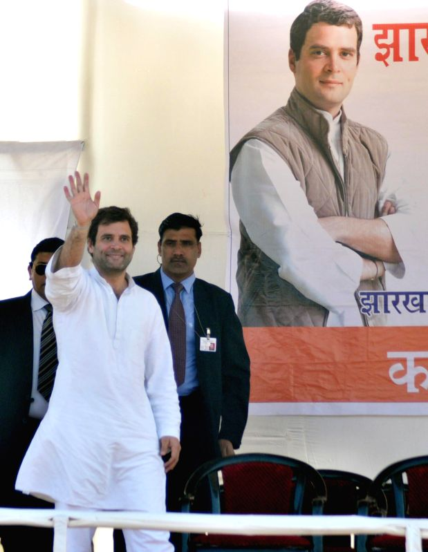 Congress vice-president Rahul Gandhi waves to the crowd during an election rally ahead of third phase of Jharkhand Assembly elections at Kanke, Jharkhand on Dec. 6 2014.