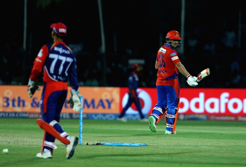 Kanpur: Aaron Finch of Gujarat Lions walks back to the pavilion after getting dismissed during an IPL 2017 match between Gujarat Lions and Delhi Daredevils at Green Park in Kanpur on May 10, ...