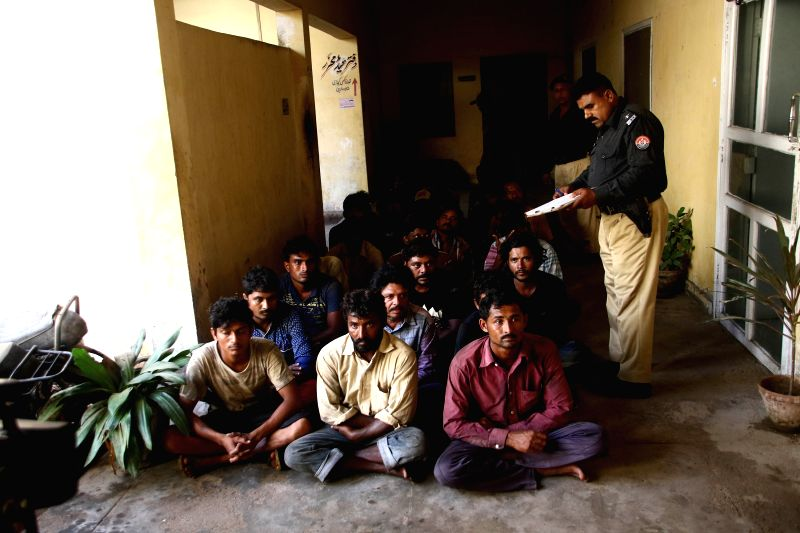 KARACHI, April 27, 2017 - Arrested Indian fishermen are seen at a police station in southern Pakistani port city of Karachi, on April 27, 2017. Pakistan's Maritime Security Agency (MSA) has arrested ...