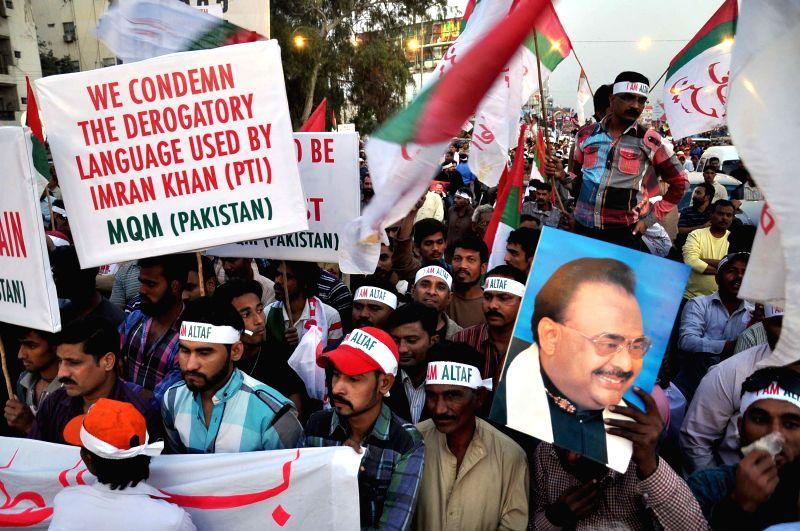 Supporters of Muttahida Qaumi Movement (MQM) attend a rally in southern Pakistani port city of Karachi on Feb. 10, 2015. The MQM held a rally in Karachi to express . - Imran Khan