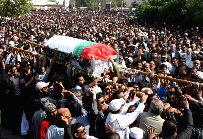 Pakistani leaders and workers of the Muttahida Qaumi Movement (MQM) party attend the funeral of senior party worker Mohammad Sohail in southern Pakistani port city .