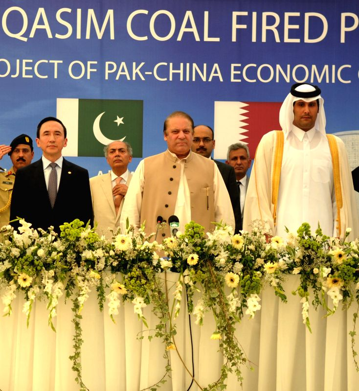 Pakistani Prime Minister Nawaz Sharif (C) attends the ground breaking ceremony of Port Qasim Coal Fired Power Project in southern Pakistani port city of Karachi on ... - Nawaz Sharif