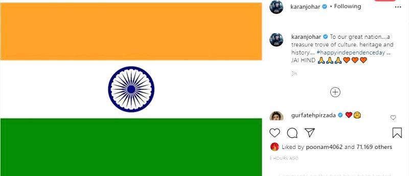 Karan Johar returns to Instagram after two months