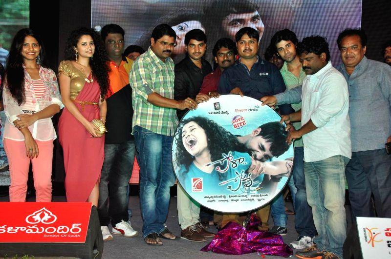 Karan, Soumya Kumar during Telugu Movie `Pora Pove` audio release function at Taj Deccan Hotel in Hyderabad on June 23, 2014. - Soumya Kumar