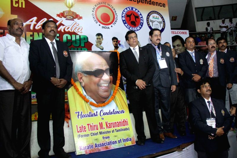 Karate Association of India pays tribute to former Tamil Nadu Chief Minister and DMK stalwart Late M Karunanidhi before the start of Karate tournament at Talkatora Stadium in New Delhi on ...