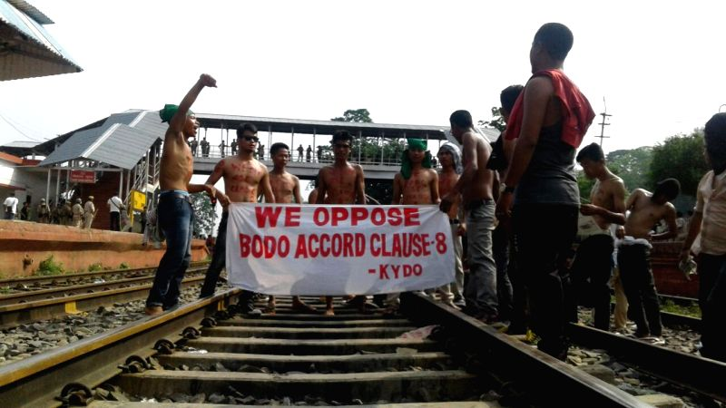 Karbi Anglong: Hills and Tribe Protection Forum activists disrupt railways to protest against Clause 8 of Bodo Accord that provides special status for the Bodoland Autonomous Council in Karbi Anglong ...