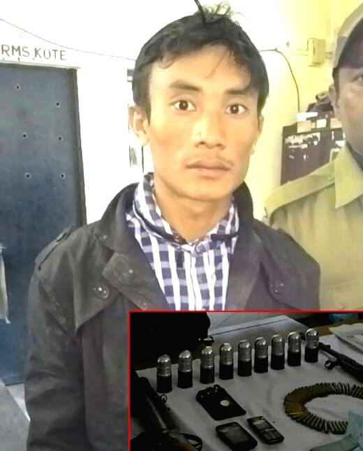 Karbi Anglong: The Finance Secretary of Karbi People's Liberation Tiger (KPLT) Sarpo Teron who was arrested by security personnel with arms and ammunition at Borolangso in Karbi Anglong district of ..