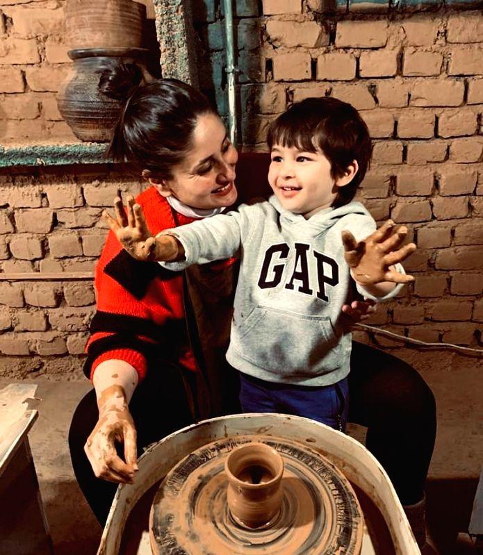 Kareena and Taimur try pottery in Dharamkot.