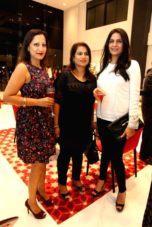 Karen Prabhu and Lavina and Rachna during Roche Bobois store launch in Bangalore on Nov 28, 2015.