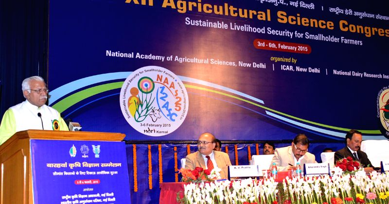 Haryana Chief Minister Manohar Lal Khattar addresses at the 12th Agriculture Science Congress in Karnal, Haryana on Feb 6, 2015. - Manohar Lal Khattar